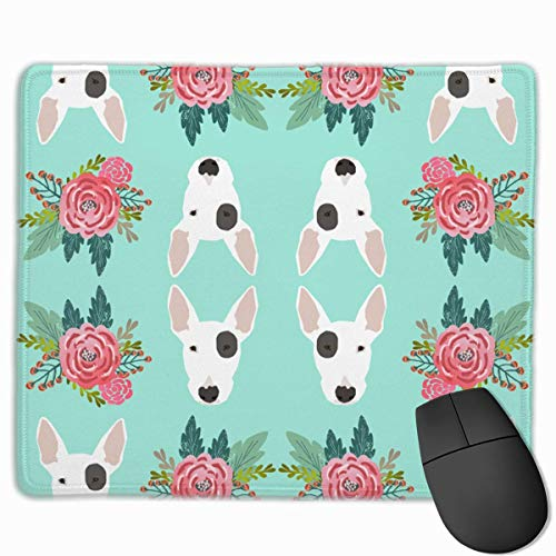 Bull Terrier Floral Flowers Personalized Design Mauspad Gaming Mauspad with Stitched Edges Mousepads, Non-Slip Rubber Base, 300 x 250 x 3 mm Thick - Best Gift Idea