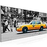 Bild 100 x 40 cm - Taxi New York Bilder- Vlies Leinwand - Deko für Wohnzimmer -Wandbild - XXL Teile - leichtes Aufhängen- 804812a