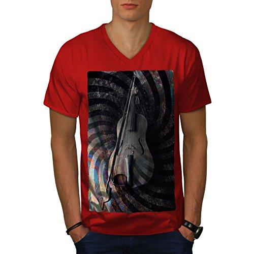 wellcoda Geige Kunst Spiral Musik Männer L V-Ausschnitt T-Shirt