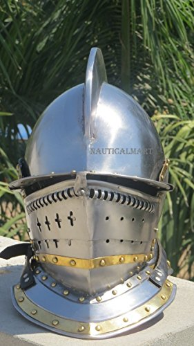 Medieval Larp Burgonet Knight 's - Closed helmet in steel brass finish by nauticalmart