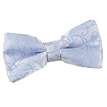 DQT Swirl Patterned Men's Formal Casual Wedding Tuxedo Pre-tied Bow Tie - Baby Blue