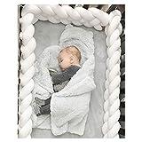 Baby Infant Krippe Bumper Pads verknotet geflochten Plüsch Kindergarten Bett Sicherheit Rail Guard, Cradle Protector, Kinderbett schlafen Kissen, Knot Ball, weiß, 1m