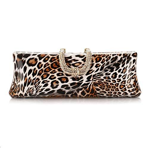 Strass Leopard-druck-handtasche (GLJJQMY Gezeitenbeutel-Handtaschen Leopard-Druck-Parteibeutel Europäische Und Amerikanische Art Und Weise Abendtasche Diamant-verkrustete Handwerkstasche Abendtaschen)