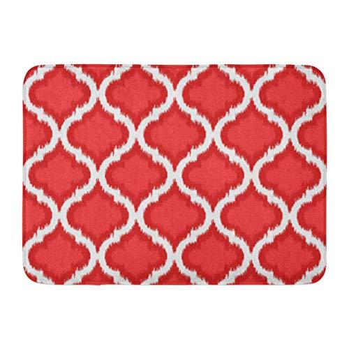 Kinhevao Badematte Buntes schickes vibrierendes Ikat im exotischen Badezimmer-Dekor-Teppich des roten Türkises