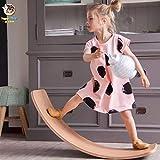 YDBET Kinder Gleichgewicht Spielzeug aus Holz Seesaw Innen Curved Brett Baby-Doppelholzaußen Seesaw Yoga Board Outdoor Spielzeug für Kinder -