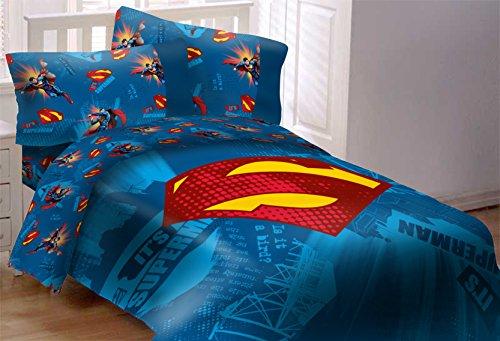 JPI Superman Emblem 4Stück wendbar Super Soft Luxus Twin Größe Tröster Set w/passende Bereich Teppich - Lego Twin-set Blatt