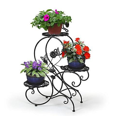 HLC-Noir Porte Pot Pots Plante Fleurs 3 Etagere Support Jardin