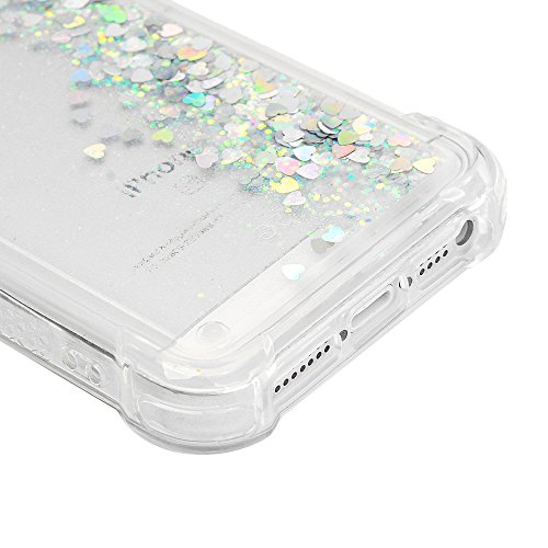 iPhone 5S Cover Silicone e Bling Glitter Brillanti, iPhone 5 SE Custodia Morbida TPU Flessibile Gomma QuickSand - MAXFE.CO Case Ultra Sottile Cassa Protettiva per iPhone 5/5S/SE - Rosa Caldo Argento