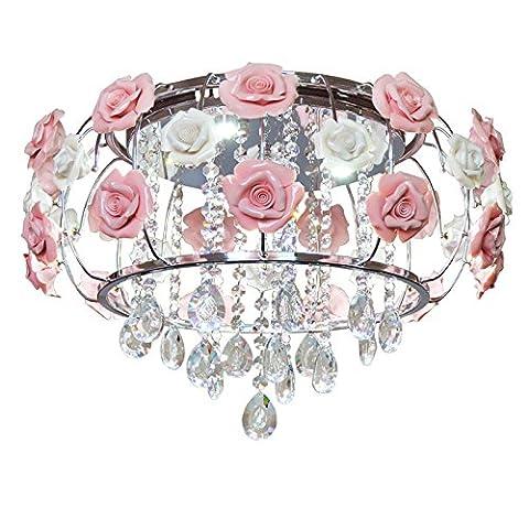 WoW Chaleureuse et Romantique Simple Korean Style Jardin Fleurs Mariage Rose Fer Led Cristal Plafonniers Suspension Lustre Pour Chambre D'Enfant,58Cm