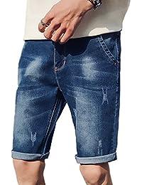 Xinwcang Hombre Casual Pantalones Cortos Básicos Slim Fit Elasticos Jeans  Cargo Deportivos Vaqueros Rotos Shorts a8f628bb6bb2