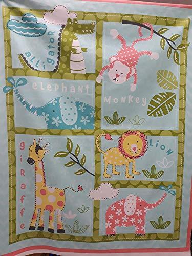 Kinder Kinder Kinderzimmer Wandbehang Baby Dschungel Zoo Tiere Baumwolle Steppstoff Panel 100 X 110CM (Crazyladies Kostüm)