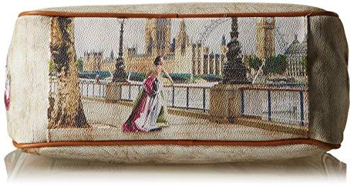 Y NOT? Damen H-370 Umhängetaschen, 31x24.5x12.5 cm Multicolore (Amazing London)