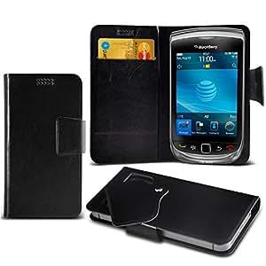 (Black) Blackberry Torch 9800 nach Maß, um Schutz PU-Leder-Geldbörse mit Kredit- / Bankkarte Slots Saugnapf-Fall-Abdeckung Leder-Saugnapf-Mappen-Kasten-Abdeckungs-Haut mit Kredit- / Bankkarte Slots Exklusiv für Elite-Zubehör montieren