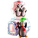 Image of Brite Ideas Festive Décoration Igloo avec pingouins Gonflable 142 cm
