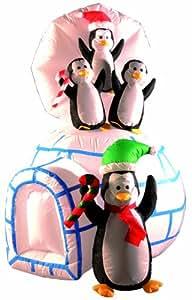 Brite Ideas Festive Décoration Igloo avec pingouins Gonflable 142 cm