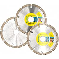 NOVOTOOLS 125 x 22.2 mm-Set 3 pcs Diamond Blades. Universal Cutting Discs for Angle Grinder for Stone, Brick, Concrete, Segmented