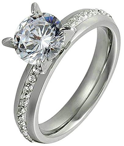 Adisaer Damen Ring Edelstahl Kreis Strass Vier Klaue Zirkonia CZ Ringe Silber Größe 52 (16.6) Hochzeit