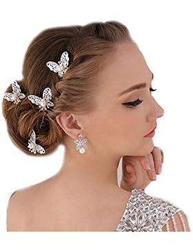 3-er Set XL Haarnadeln Tiara Schmetterling Haarschmuck Strass Perlen Hochzeit Kommunion Braut Taufe Haarnadeln...