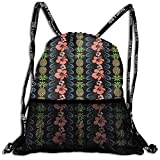 Kotdeqay Personalized Pink Flowers and Pineapple Drawstring Sports Nackpack with Mesh Pocket Cinch Bags
