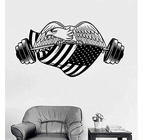 Gym American Eagle Amerikanische Flagge Wandaufkleber Kreative Abnehmbare Vinyl Kunst Dekoration Für Wohnzimmer Kinder Schlafzimmer wasserdichte Wandaufkleber 82X42 Cm -