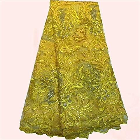 Nuevo diseño de la tela amarilla Noble francés cordón neto con lentejuelas material de vestido de fiesta africana NN2-3 el color del mulit a la venta