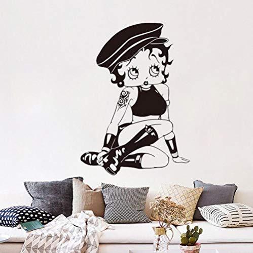 Sexy Betty Boop Mädchen Neuheit lustige Abziehbilder Wandaufkleber Wohnkultur Vinyl Kunst Aufkleber Dekoration 57x41cm