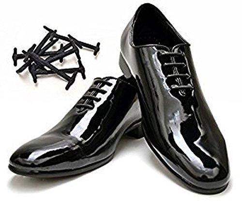 Ksocks–no Tie shoe lacci per scarpe Oxford Dress–silicone elastico scarpa stringhe, Nero (Nero), 3 cm