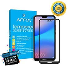 Affix Full Glue Huawei P20 Lite Full Coverage 9H Tempered Glass, Full Edge-to-Edge 5D Screen Protector - Black