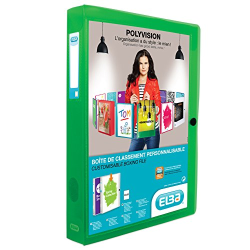 ELBA 100200147 Kunststoff-Sammelbox polyvision 4 cm breit DIN A4 grün Drucknopf-Verschluss Sammel-Mappe Heftbox Heft-Sammler Dokumenten-Box ideal für Büro Schule und die mobile Organisation