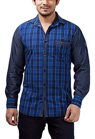 Rapphael Men's Plain Slim Fit Casual Shirt (RPL-00098A-S_Blue)
