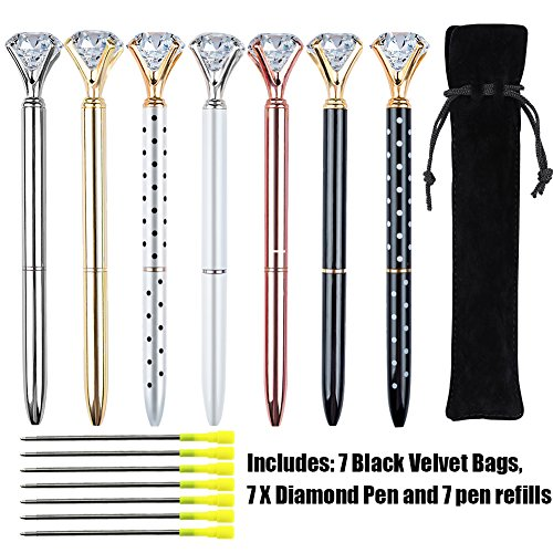 EVNEED 7PCS Diamond Pens Beautiful Metal Ballpoint Pen for Women,Coworkers,Hostess and Girlfriend,Christmas Gifts for Women