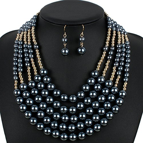 Femme Perle Collier Mode Multi-couches Exagéré Réglable Costume Black