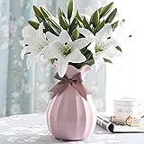 Künstliche Blumen Weiße Lilie,GKONGU 4 Stück Realistisch Blumensträuße Natürliche Lilie mit 3 Blütenknospen Ideal für Hochzeit Sträuße Vase Dekoration -Weiß