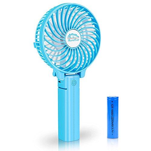 BestFire Portable Handheld Mini Fan Batteriebetriebene Lüfter Elektrische Personal Fans Faltbare Desktop Fans Leise Betrieb 3 Geschwindigkeiten mit 18650 Akku für Home Office Travel (Blau)