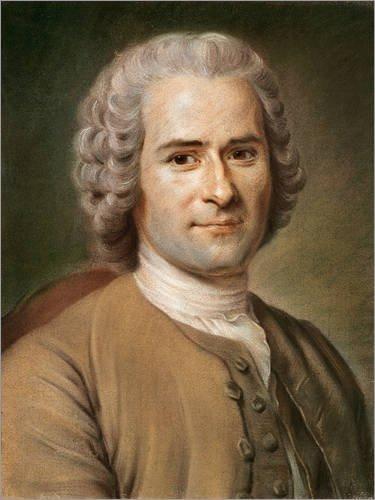 Poster 100 x 130 cm: Jean-Jacques Rousseau von Maurice Quentin de la Tour/Bridgeman Images - hochwertiger Kunstdruck, neues ()
