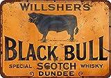 Willshers Black Bull Scotch Whisky Reproduction Plaque Murale en métal pour décoration Murale pour Femme Homme 20 x 30 cm