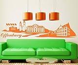 Wandtattoo Offenburg Skyline XXL Aufkleber Wand Sticker Haus Deutschland 1M189, Farbe:Königsblau Matt;Länge des Motives:170cm