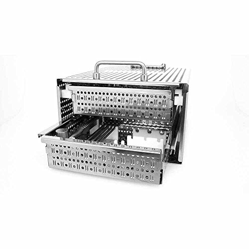 Preisvergleich Produktbild 2 drawer stainless steel tool box (autoclavable),  dimensions (l x w x h): 490 x 324 x 280 mm,  number of drawers: 2,  polished surface / body & drawers perforated / handles / both drawers lockable with key
