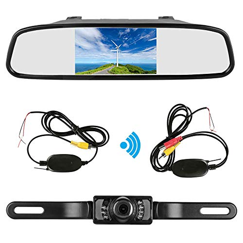 TOOGOO 4,3 Zoll Auto Tft LCD Spiegel Monitor Drahtlos Reverse Auto Rück Fahr Kamera Backup Kamera Kit (Schwarz) -