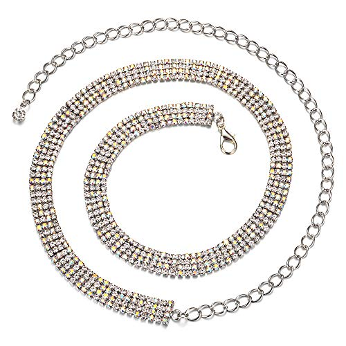 Silber Metall Kette Charm Gürtel mit 4 Reihen Strass zum Befestigen mit modischem Verschluss, modisches Accessoire, Casual formelle und Western-Outfits, 79 cm ()
