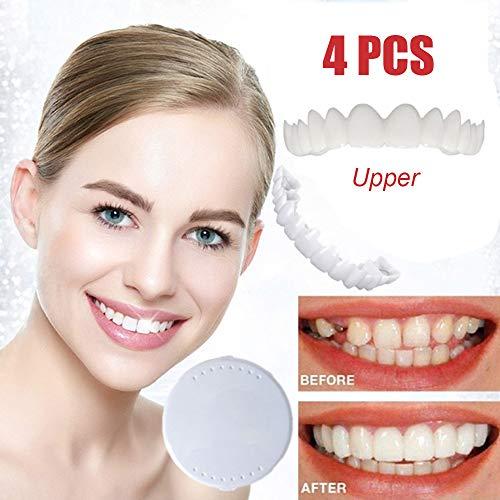 Beauty ZQ 4 PCS-Gebisse in Der Oberen Reihe Simulierter Gebisse Auf Den Zähnen, Die Sofort EIN Komfortables Und Flexibles Make-Up-Furnier-Gebiss Mit Natürlichem Lächeln Für Die Mundpflege Aufhellen -