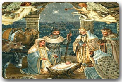 Design Christmas Nativity Holy Family, Tree-Three Wisemen Christmas Doormat,Indoor/Outdoor Floor Mat ()