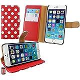 """Emartbuy® Apple Iphone 6s Plus 5.5"""" Zoll Brieftaschen Wallet Etui Hülle Case Cover aus PU Leder Polka Dots Rot Weiß mit Kreditkartenfächern"""