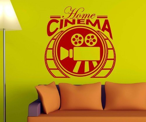 Wand Kino (Home Cinema Kino Wandtattoo Wandaufkleber Kamera Wand Deko Film Aufkleber 5S068, Farbe:Rot Matt;Breite vom Motiv:55cm)