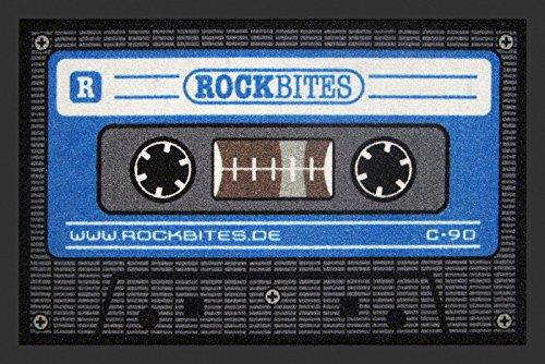 –Felpudo (60x 40cm, antideslizante, diseño a elegir, (con pequeño regalo gratuito), poliamida, Tape - Schwarz/Blau, 40 x 60cm