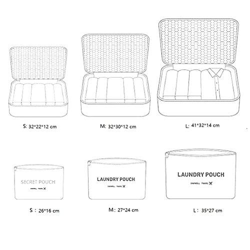 ITraveller 7 Stück Set-3 Verpackungs Würfel+3 Beutel+1shoes bag Kompresse Ihre Kleidung während der Reise (Blue) Dark blue star