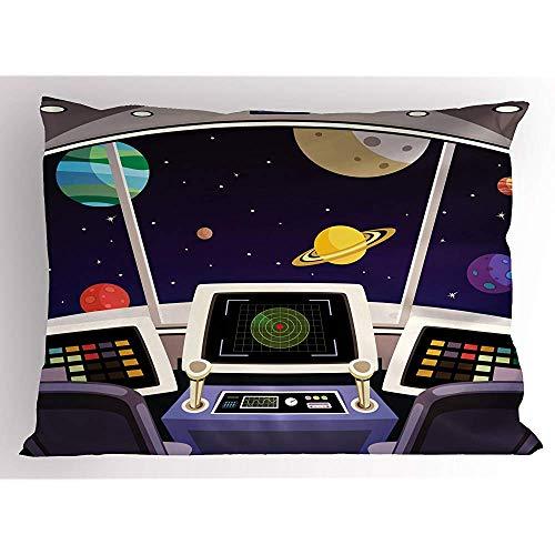 2 Stück Space Pillow Sham,Flying Spaceship Cabin Interior Futuristische Cartoon mit Space Backdrop Planeten Sterne,Dekorative Standardgröße gedruckt Kissenbezug,36 X 20,Indigo Lila -