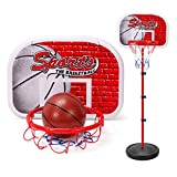 Cystyle Kinder Basketballständer Basketballkorb Drinnen Draußen Verstellbare Höhe mit Netz und Pump Tragbare Sportspielzeug 3 Jahre + (Can lift up and down 150 CM)