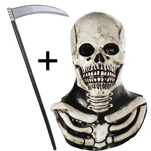 Jonami Grusel Totenkopf Skelett Maske, Halloween Masken Herren, Horror Clown mit Haaren Teufel Dämon Zombie Maske, Deluxe Kostüm mit Gruseligem Messer Sense (Teufel Kostüm Maske)