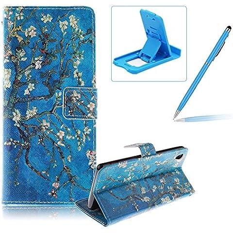 Sony Xperia Z3 Funda de cuero billetera,Herzzer Sony Xperia Z3 alta calidad la cubierta del estilo del libro,[Modelo colorido] Magnética Cubierta de la caja Funda protectora de TPU interior suave con Stand Función y Imán y ranuras para tarjetas de crédito para Sony Xperia Z3 + 1 x Azul de la célula Teléfono pata de cabra + 1 x Azul Lápiz óptico - Rama de árbol